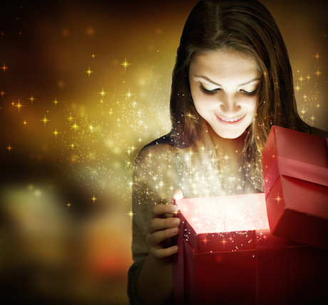 Female opening a gift