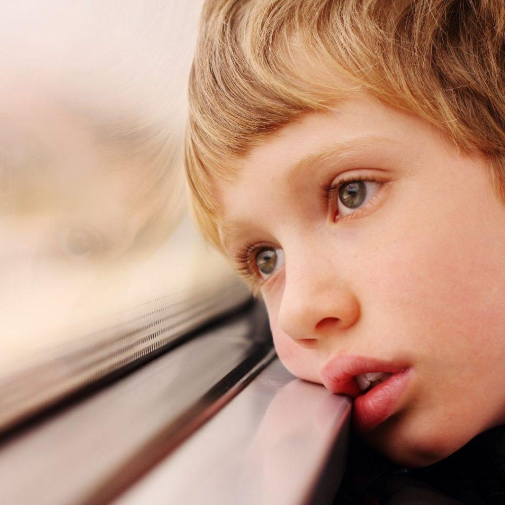 Wistful Boy Looking Out The Window